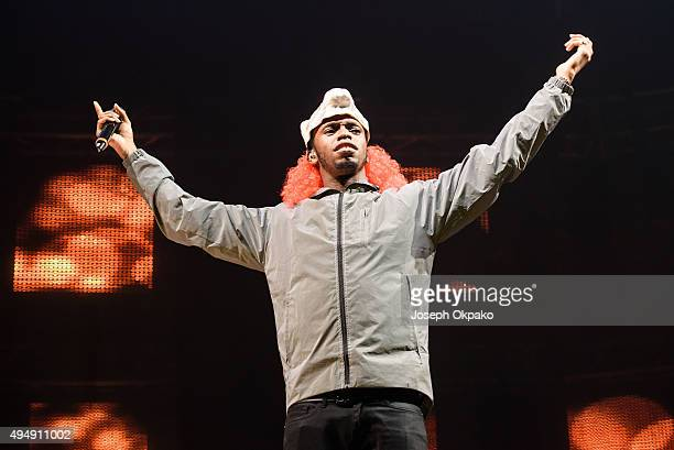 Krept of Krep and Konan performs at the KISS FM Haunted House Party at SSE Arena on October 29 2015 in London England