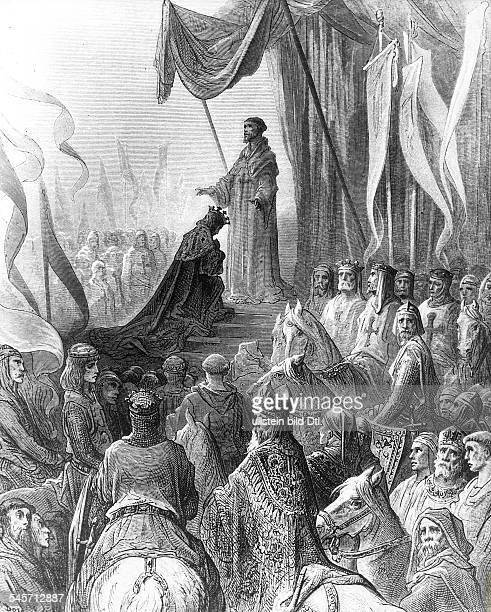 Bernhard von Clairvaux ruft am Ostersonntag 1146 in Vezelay zum II Kreuzzug auf König Ludwig VII nimmt das KreuzIllustration von Gustave Dore