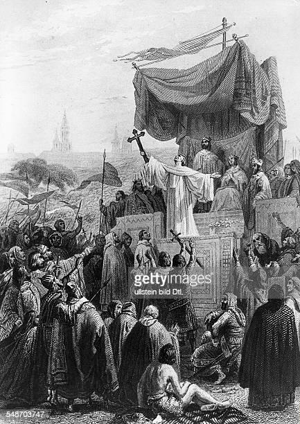 Bernhard von Clairvaux ruft zum II Kreuzzug auf Vezelay in Burgund Ostersonntag 1146Illustration von Gustave Dore