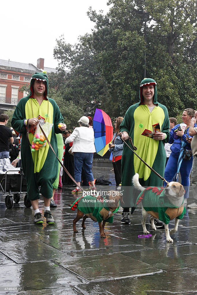 Krewe members and their human companions march with The Mystic Krewe of Barkus, a non-profit organization that supports animal welfare groups on February 23, 2014 in New Orleans, Louisiana. DOGZILLA - Barkus Licks the Crescent City was the theme of the 22nd Mystic Krewe of Barkus Parade.