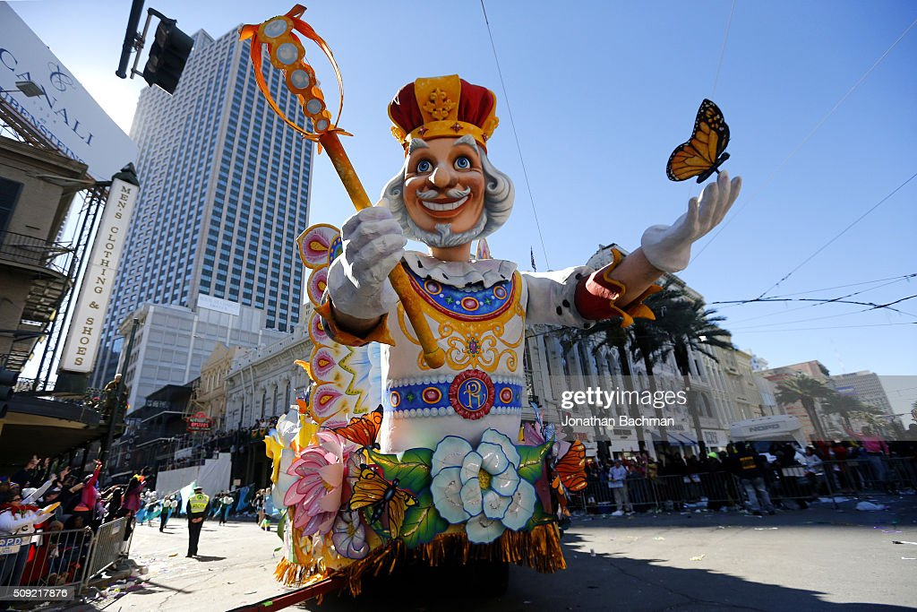 Krewe of Rex parades down St. Charles Avenue during Mardi Gras day on February 9, 2016 in New Orleans, Louisiana. Fat Tuesday, or Mardi Gras in French, is a celebration traditionally held before the observance of Ash Wednesday and the beginning of the Christian Lenten season.
