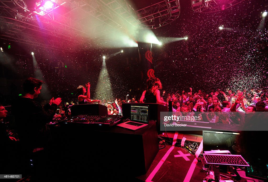 Krewella performs onstage at a private party celebrating CES 2014 hosted by iHeartRadio featuring a live performance by Krewella at Haze Nightclub at the Aria Resort & Casino at CityCenter on January 8, 2014 in Las Vegas, Nevada.