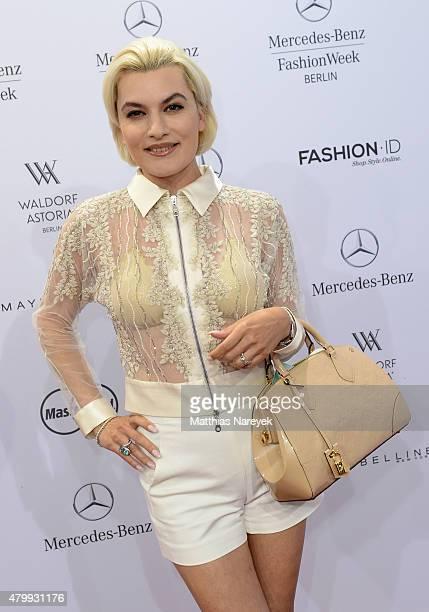 Kriemhild Siegel attends the Guido Maria Kretschmer show during the MercedesBenz Fashion Week Berlin Spring/Summer 2016 at Brandenburg Gate on July 8...