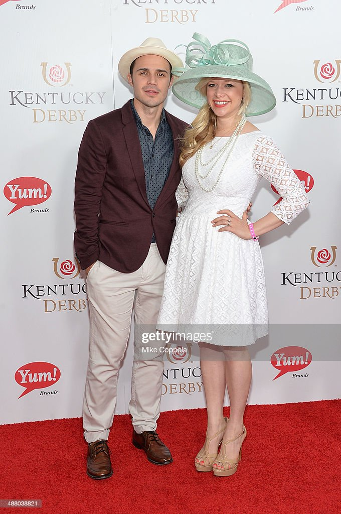 Kris Allen (L) and Katy O'Connell attend 140th Kentucky Derby at Churchill Downs on May 3, 2014 in Louisville, Kentucky.