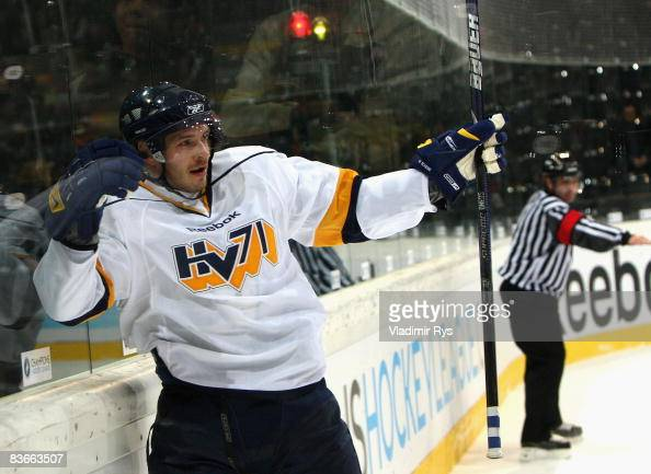 Kris Beech of HV71 celebrates after scoring the 12 goal during the IIHF Champions Hockey League game between SC Bern and HV71 Jonkoping at the...