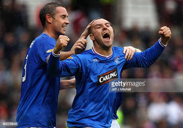 Kris Boyd of Rangers celebrates after scoring during the Clydesdale Bank Scottish Premier league match between Hearts and Rangers at Tynecastle Park...