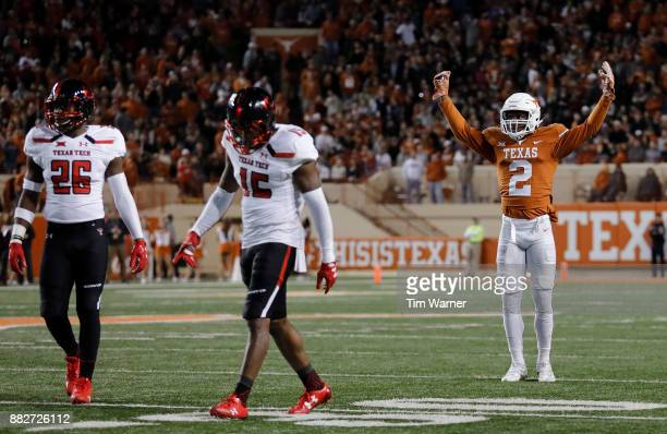 Kris Boyd of the Texas Longhorns reacts after an incomplete pass intended for Vaughn Dorsey of the Texas Tech Red Raiders in the fourth quarter at...