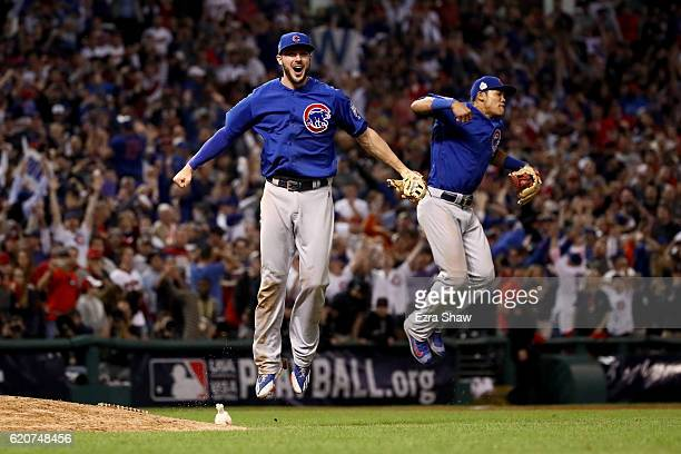 Kris Bryant and Addison Russell of the Chicago Cubs celebrate after defeating the Cleveland Indians 87 in Game Seven of the 2016 World Series at...