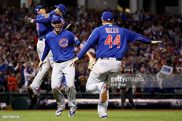Kris Bryant and Anthony Rizzo of the Chicago Cubs celebrate after defeating the Cleveland Indians 87 in Game Seven of the 2016 World Series at...