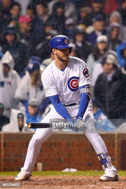 Kris Bryant of the Chicago Cubs at bat during game four of the National League Division Series against the Washington Nationals at Wrigley Field on...