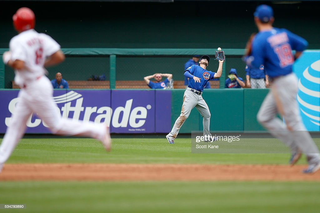 <a gi-track='captionPersonalityLinkClicked' href=/galleries/search?phrase=Kris+Bryant+-+Baseball+Player&family=editorial&specificpeople=14019446 ng-click='$event.stopPropagation()'>Kris Bryant</a> #17 of the Chicago Cubs catches for an out during the fourth inning against the St. Louis Cardinals at Busch Stadium on May 25, 2016 in St. Louis, Missouri.
