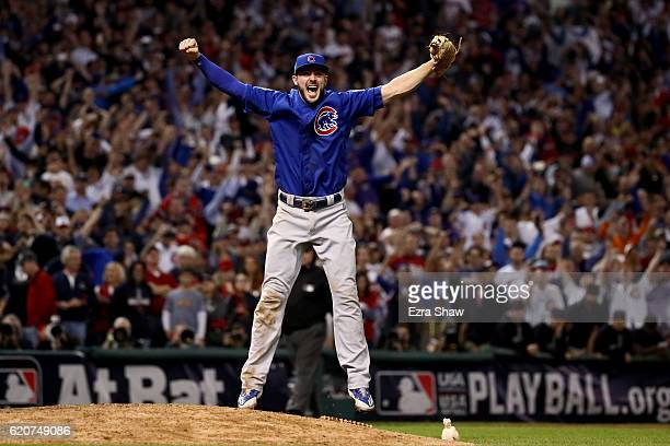 Kris Bryant of the Chicago Cubs celebrates after defeating the Cleveland Indians 87 in Game Seven of the 2016 World Series at Progressive Field on...