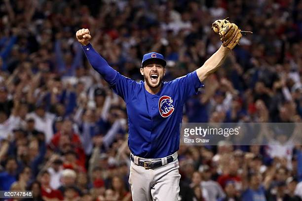 Kris Bryant of the Chicago Cubs celebrates after winning 87 in Game Seven of the 2016 World Series at Progressive Field on November 2 2016 in...