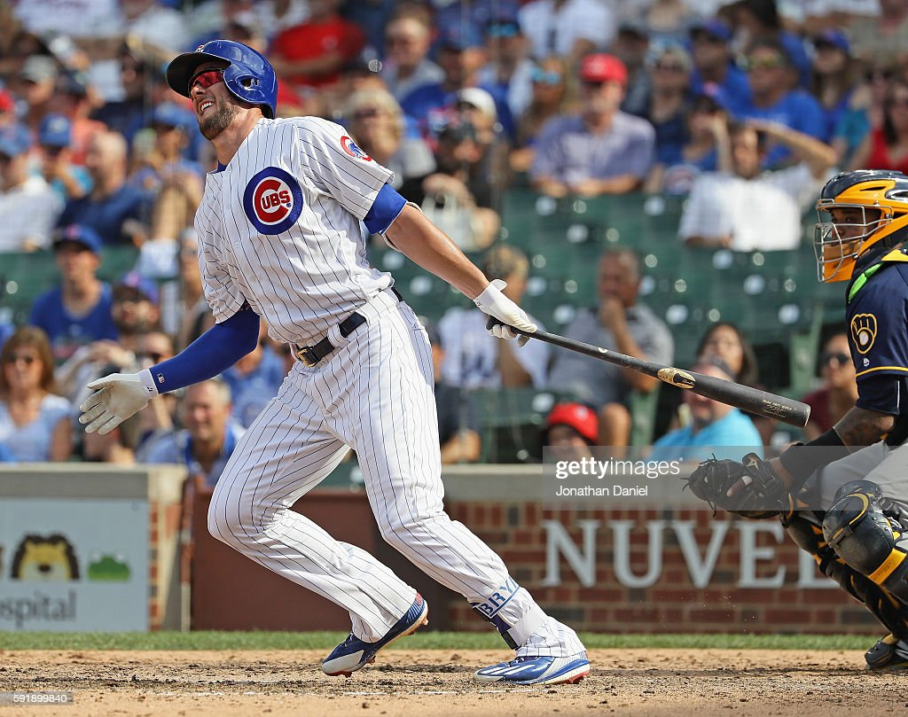 Kris Bryant #17 of the Chicago Cubs collects his fifth hit of the game, a single in the 8th inning, against the Milwaukee Brewers at Wrigley Field on August 18, 2016 in Chicago, Illinois. The Cubs defeated the Brewers 9-6.