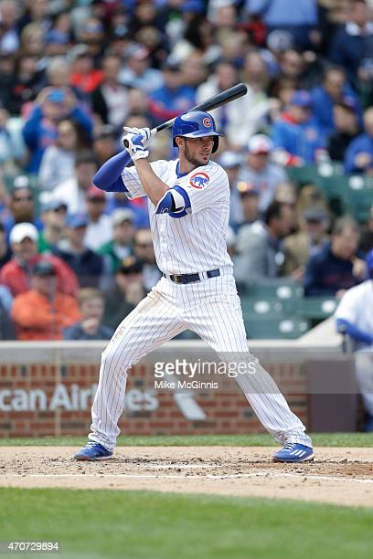 Kris Bryant of the Chicago Cubs gets ready for the next pitch during the game against the San Diego Padres at Wrigley Field on April 18 2015 in...