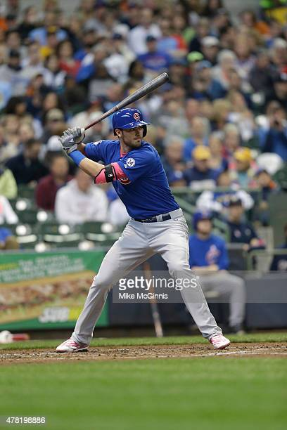 Kris Bryant of the Chicago Cubs gets ready for the next pitch during the game against the Milwaukee Brewers at Miller Park on May 10 2015 in...