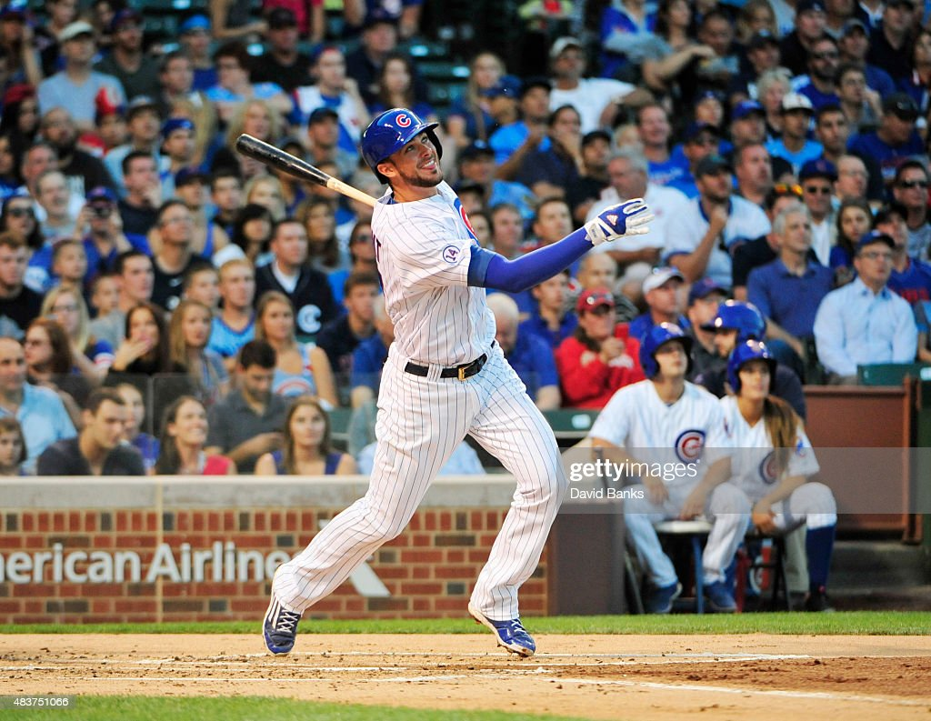 Kris Bryant of the Chicago Cubs hits a home run against the Milwaukee Brewers during the second inning on August 12 2015 at Wrigley Field in Chicago...