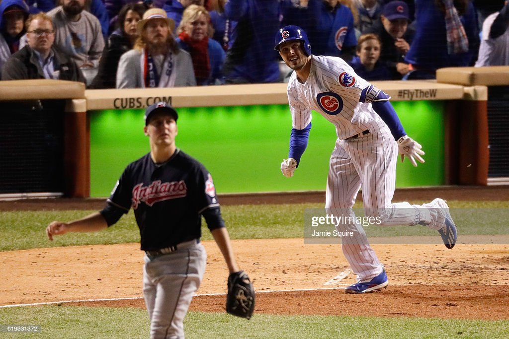 Kris Bryant #17 of the Chicago Cubs hits a home run off of Trevor Bauer #47 of the Cleveland Indians in the fourth inning in Game Five of the 2016 World Series at Wrigley Field on October 30, 2016 in Chicago, Illinois.