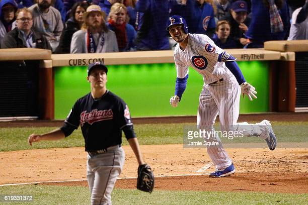 Kris Bryant of the Chicago Cubs hits a home run off of Trevor Bauer of the Cleveland Indians in the fourth inning in Game Five of the 2016 World...