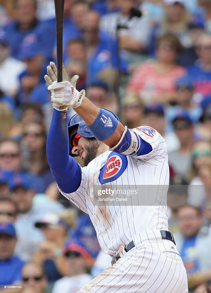 Kris Bryant #17 of the Chicago Cubs hits a run scoring triple in the 4th inning against the Pittsburgh Pirates at Wrigley Field on July 7, 2017 in Chicago, Illinois.