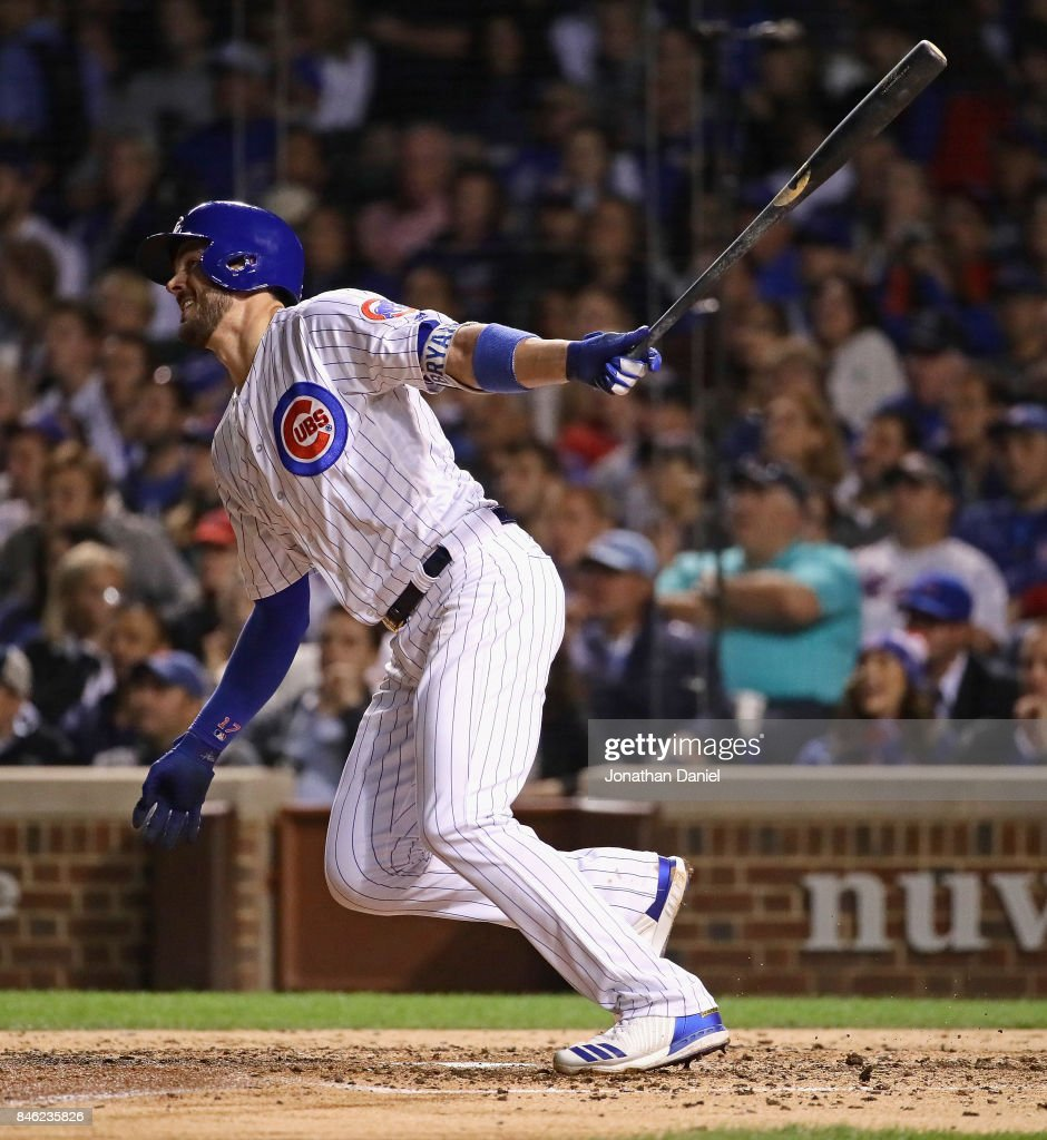 Kris Bryant #17 of the Chicago Cubs hits a three run home run in the 4th inning against the New York Mets at Wrigley Field on September 12, 2017 in Chicago, Illinois.