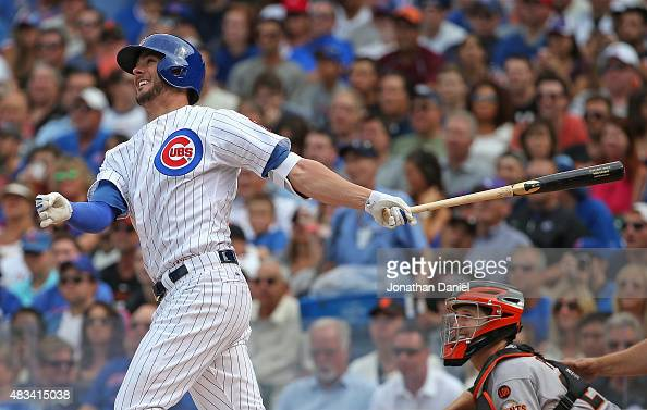Kris Bryant of the Chicago Cubs hits a tworun home run in the 3rd inning against the San Francisco Giants at Wrigley Field on August 8 2015 in...