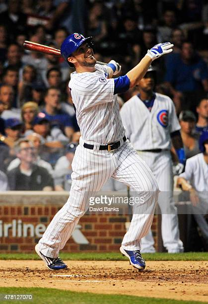 Kris Bryant of the Chicago Cubs hits a tworun homer against the Los Angeles Dodgers during the third inning on June 22 2015 at Wrigley Field in...
