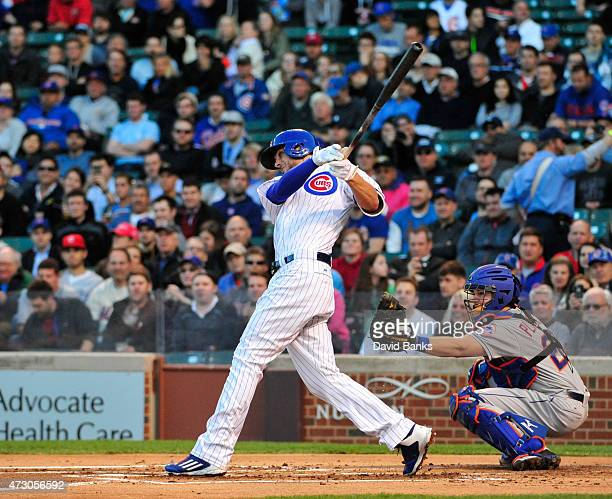 Kris Bryant of the Chicago Cubs hits a tworun homer against the New York Mets on May 11 2015 at Wrigley Field in Chicago Illinois It was Bryant's...