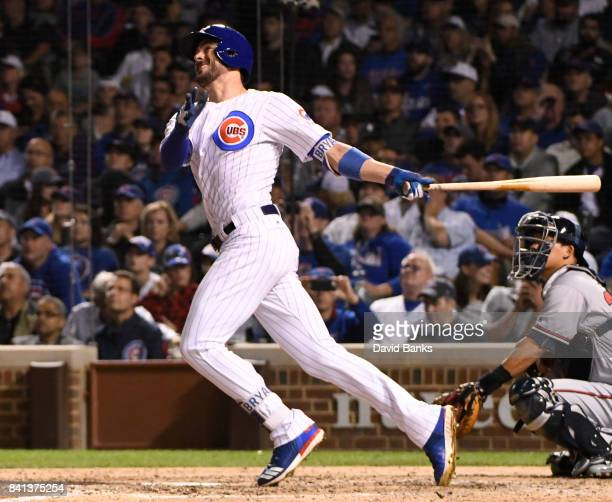 Kris Bryant of the Chicago Cubs hits a tworun homer against the Atlanta Braves during the sixth inning on August 31 2017 at Wrigley Field in Chicago...