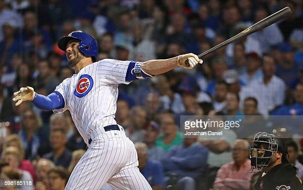 Kris Bryant of the Chicago Cubs hits his 36th home run of the season a solo shot in the 1st inning against the Pittsburgh Pirates at Wrigley Field on...