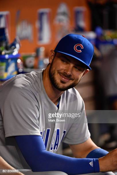 Kris Bryant of the Chicago Cubs in action before the game between the Miami Marlins and the Chicago Cubs at Marlins Park on June 24 2017 in Miami...