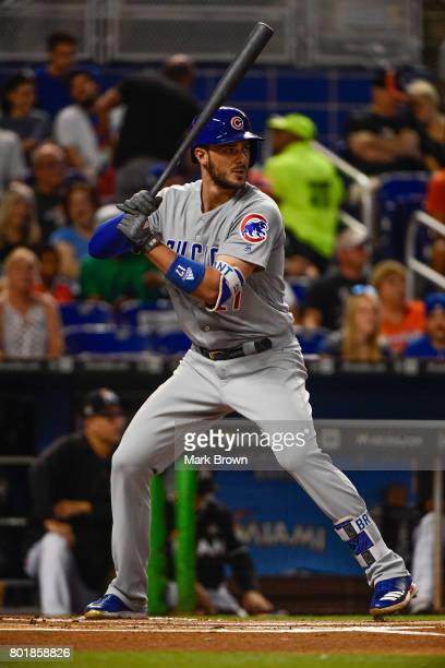 Kris Bryant of the Chicago Cubs in action during the game between the Miami Marlins and the Chicago Cubs at Marlins Park on June 24 2017 in Miami...