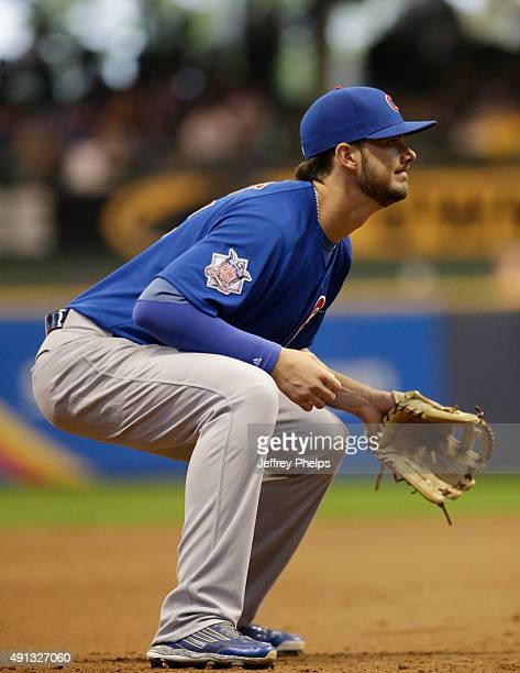 Kris Bryant of the Chicago Cubs plays third base against the Milwaukee Brewers stands in the eighth inning of a baseball game at Miller Park on...