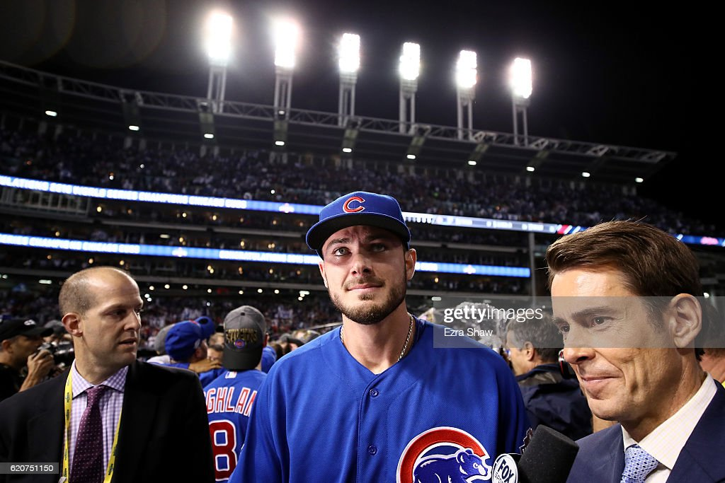 Kris Bryant #17 of the Chicago Cubs reacts after defeating the Cleveland Indians 8-7 in Game Seven of the 2016 World Series at Progressive Field on November 2, 2016 in Cleveland, Ohio. The Cubs win their first World Series in 108 years.