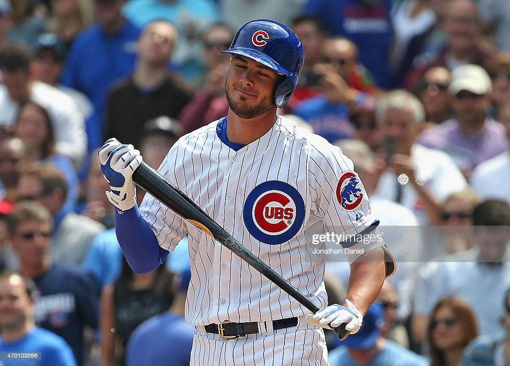 Kris Bryant #17 of the Chicago Cubs reacts after striking out in his first Major League at-bat against the San Diego Padres at Wrigley Field on April 17, 2015 in Chicago, Illinois.