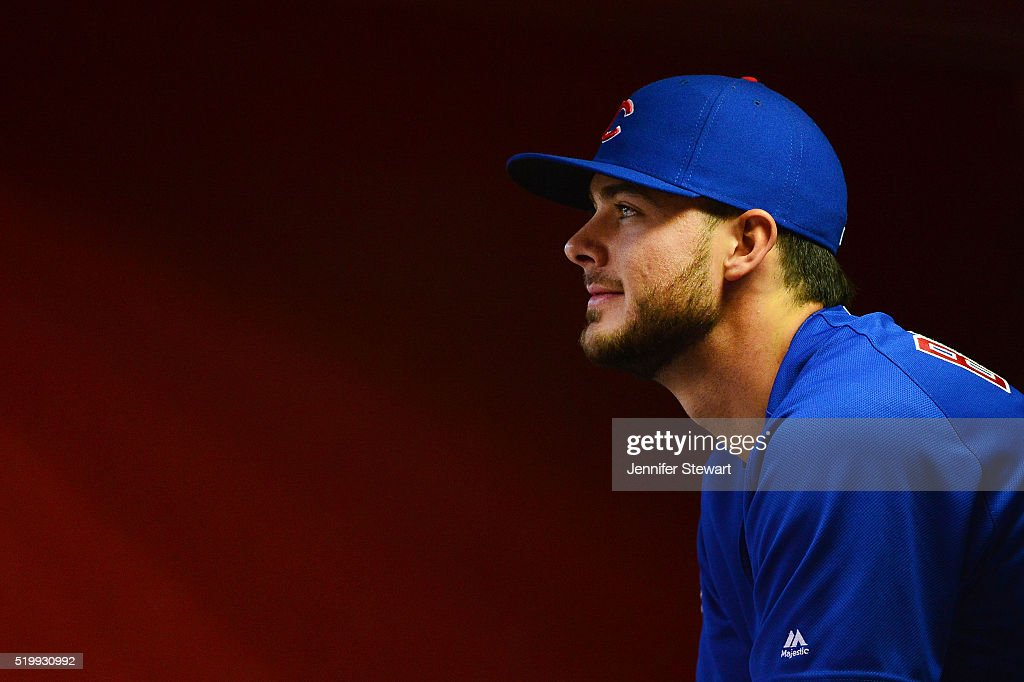 Kris Bryant #17 of the Chicago Cubs sits in the dugout prior to the game against the Arizona Diamondbacks at Chase Field on April 8, 2016 in Phoenix, Arizona.