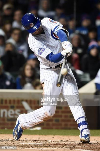 Kris Bryant of the Chicago Cubs swings at a pitch during the third inning of a game against the Los Angeles Dodgers at Wrigley Field on April 12 2017...