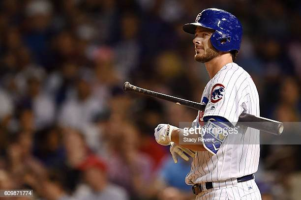 Kris Bryant of the Chicago Cubs waits for a pitch during a game against the Cincinnati Reds at Wrigley Field on September 20 2016 in Chicago Illinois...