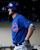 Kris Bryant of the Chicago Cubs waits for his turn to bat in the fifth inning against the Milwaukee Brewers at Miller Park on July 24 2016 in...
