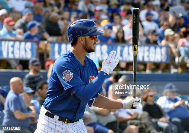 Kris Bryant of the Chicago Cubs warms up on deck during an exhibition game against the Cincinnati Reds at Cashman Field on March 26 2017 in Las Vegas...