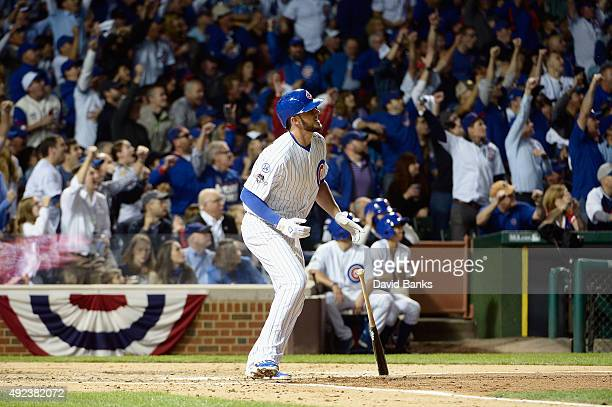 Kris Bryant of the Chicago Cubs watches his tworun home run in the fifth inning against the St Louis Cardinals during game three of the National...