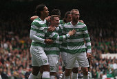 Kris Commons celebrates after he scores for Celtic during the Scottish Premiership League Match between Celtic and Dundee United at Celtic Park on...