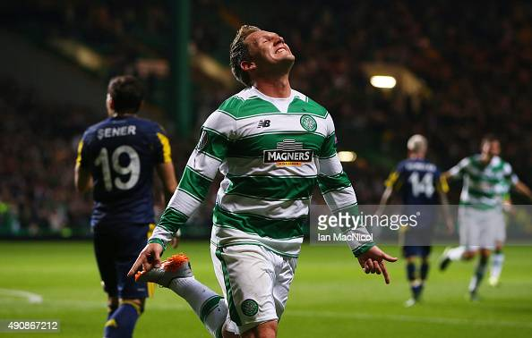 Kris Commons of Celtic celebrates after he scores during the UEFA Europa League match between Celtic FC and Fenerbahce SK at Celtic Park on October...