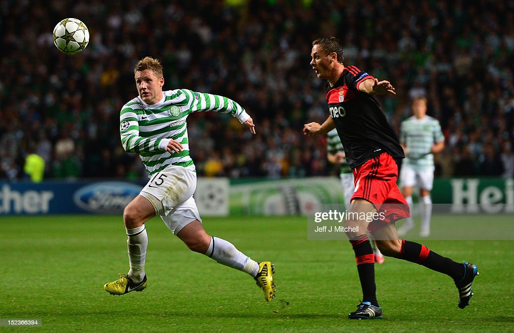 Kris Commons of Celtic in action during the Champions League UEFA Champions League match between Celtic and SL Benfica at Celtic Park on September 19, 2012 in Glasgow,Scotland.
