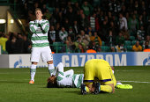Kris Commons of Celtic reacts after a miss during the UEFA Champions League Qualifying PlayOffs Round Second Leg Match between Celtic and Maribor at...