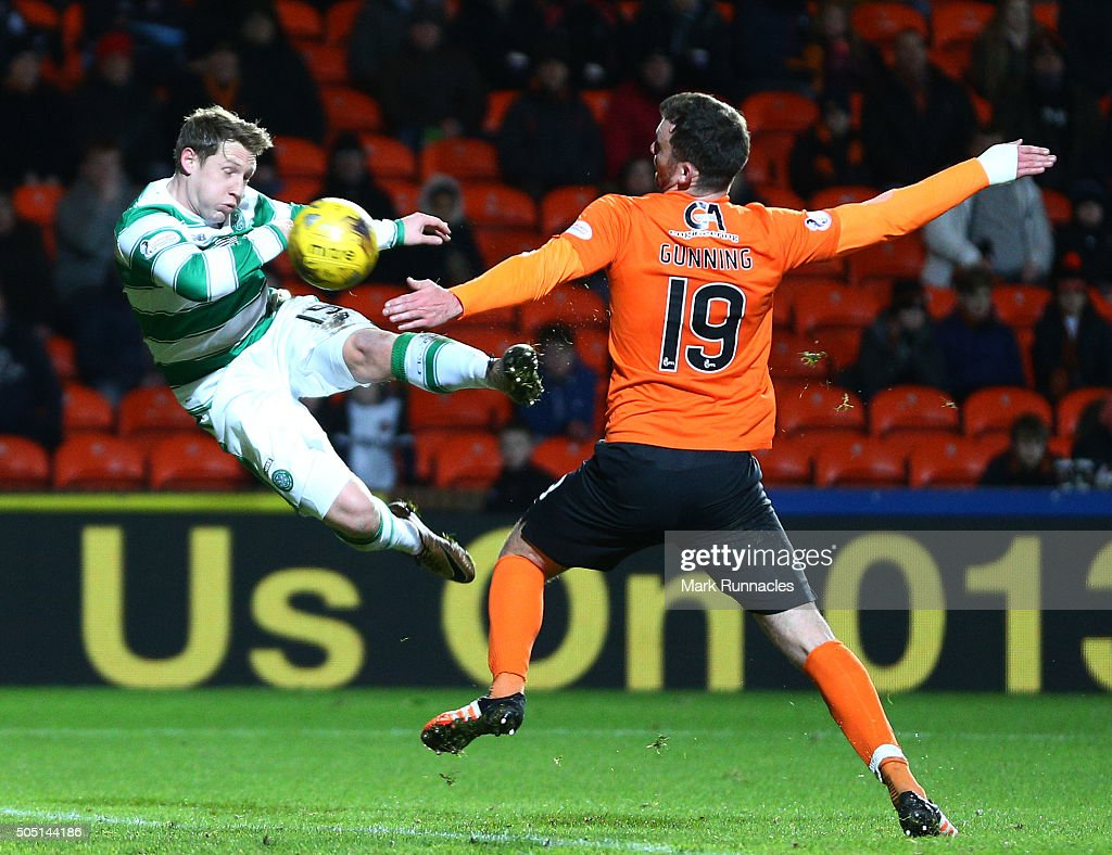 Kris Commons of Celtic scores a spectacular volleyed goal from distance in the second half during the Ladbrokes Scottish Premiership match between Celtic FC and Dundee United FC at Tannadice Park on January 15, 2016 in Dundee, Scotland.