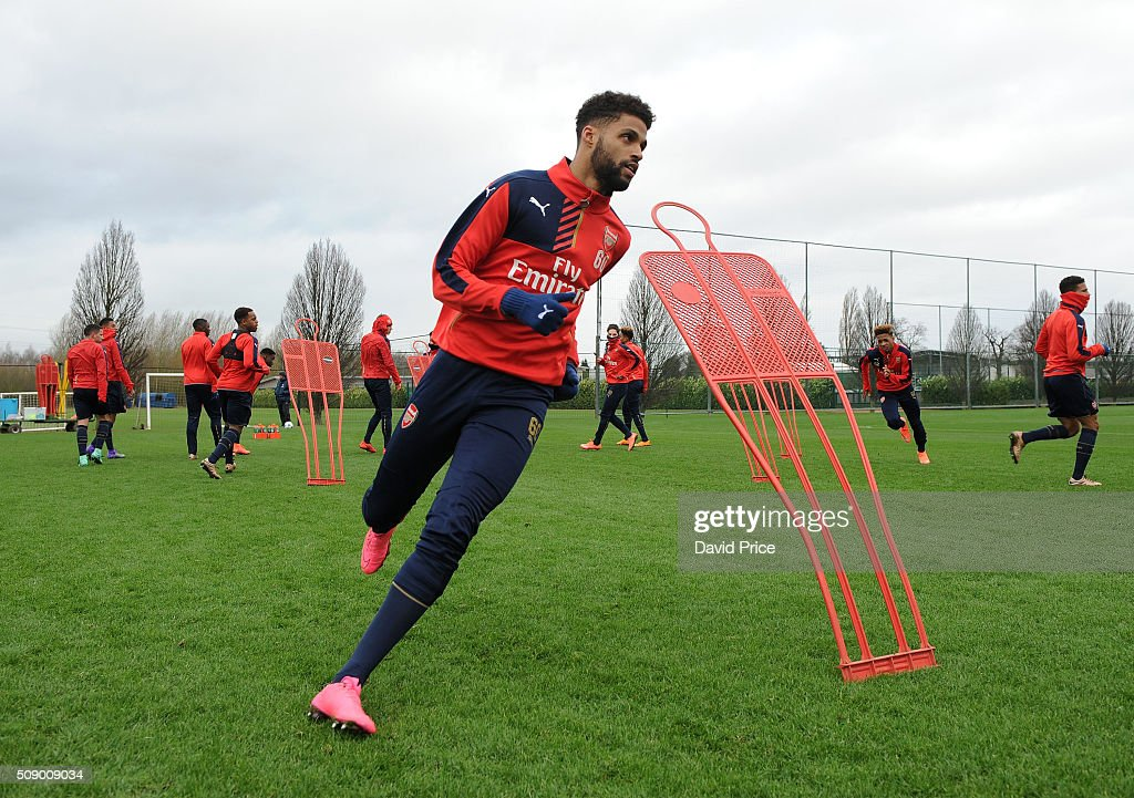Kris Da Graca of Arsenal the U19 team during their training session at London Colney on February 8, 2016 in St Albans, England.