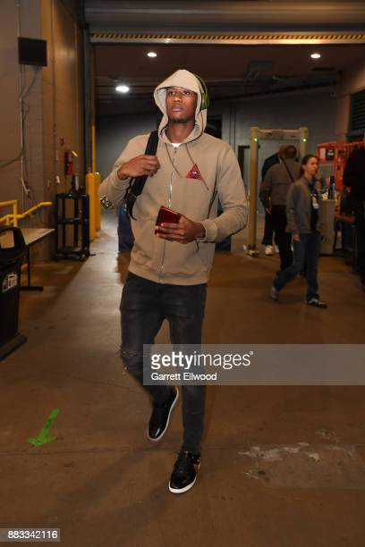 Kris Dunn of the Chicago Bulls arrives before the game against the Denver Nuggets on November 30 2017 at the Pepsi Center in Denver Colorado NOTE TO...