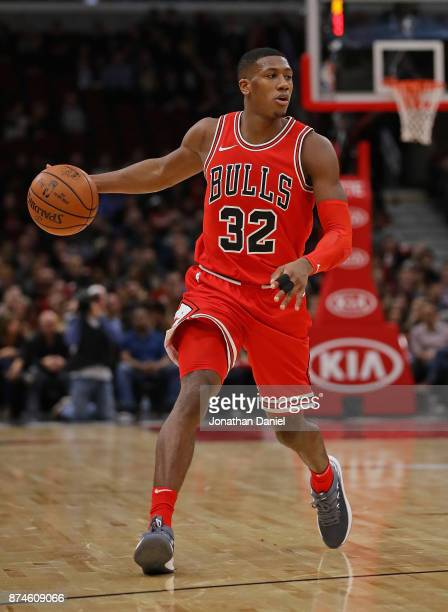 Kris Dunn of the Chicago Bulls brings the ball up the court against the Indiana Pacers at the United Center on November 10 2017 in Chicago Illinois...