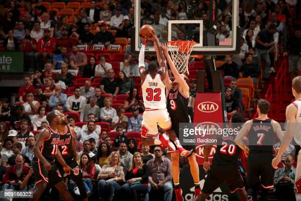 Kris Dunn of the Chicago Bulls dunks the ball against the Miami Heat on November 1 2017 at American Airlines Arena in Miami Florida NOTE TO USER User...